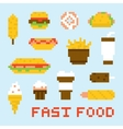 Pixel art fast food set vector image vector image