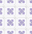 Purple squares and white flowers pattern vector image vector image