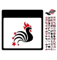 Rooster Fireworks Calendar Page Flat Icon vector image vector image