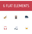 set of audio icons flat style symbols with violin vector image vector image
