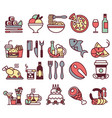 set of flat icons and elements with food and vector image vector image