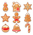 set of various gingerbreads for merry christmas vector image