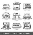 set of vintage furniture labels vector image vector image