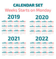 simple 2019-2022 years calendar vector image vector image
