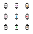 Smart watch with color icons vector image
