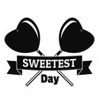 sweetest day logo simple style vector image vector image