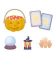 tarot cards holiday halloween magician in a hat vector image vector image