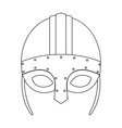 Viking helmet icon in outline style isolated on vector image