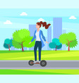 woman riding segway in green city park with trees vector image vector image