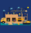 cartoon builders on a construction site vector image