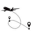 airplane fligth route or air plane destination vector image vector image