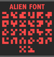 alien font letters alphabet for display of vector image