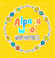 alpaca wool label design vector image vector image