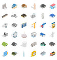 architecture icons set isometric style vector image vector image