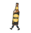 beer bottle walks on its feet color sketch vector image