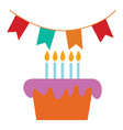 birthday cake and decoration print on white vector image