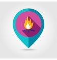 Bonfire flat mapping pin icon with long shadow vector image vector image