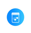 bottle with pills icon vector image