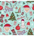 Bright Christmas pattern New year cute doodle vector image vector image
