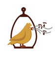 canary bird singing on pole cartoon icon vector image vector image
