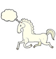 cartoon running white stallion with thought bubble vector image vector image
