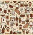 coffee seamless pattern with thin line icon vector image vector image