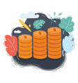 coin stacks on dark background vector image vector image
