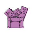 color backpack with camera and picture to journey vector image vector image