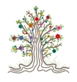 Colorful Embroidered Tree with Buttons Fruits vector image vector image