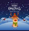 cute cartoon reindeer character merry christmas vector image vector image