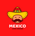cute happy smiling mexico man face vector image vector image