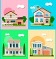 different residential houses exterior vector image vector image
