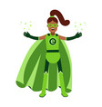 ecological superhero black woman in green costume vector image vector image