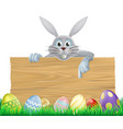 eggs and easter bunny sign vector image vector image