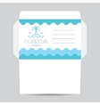 envelope with palm seagulls island and waves vector image vector image