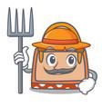 farmer hand bag character cartoon vector image vector image