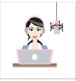 female brunette disc jockey radio station vector image vector image
