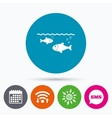 Fish in water sign icon Fishing symbol vector image vector image