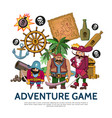 flat colorful adventure game concept vector image vector image
