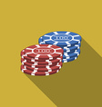 Flat design gambling chips icon with long shadow vector image vector image
