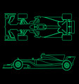 formula car linear light silhouette of a racing
