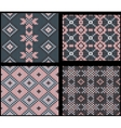 Four seamless knitted swatches with folk ornament vector image vector image