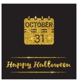 Halloween gold textured calendar icon vector image vector image