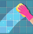 hand in gloves with sponge vector image vector image