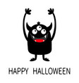 happy halloween monster black silhouette icon vector image