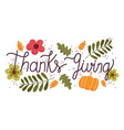 happy thanksgiving day lettering message flowers vector image vector image