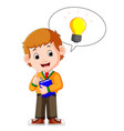 kids boy carrying book cartoon and good idea vector image