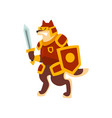 knight dog character in full armor with shield and vector image