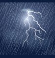 lightning flash and heavy rain in the dark sky vector image