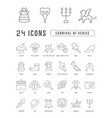 line icons carnival venice vector image vector image